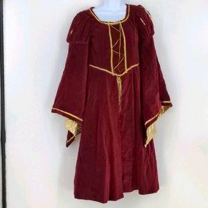 Renaissance Red Gold Halloween Costume Dress Small
